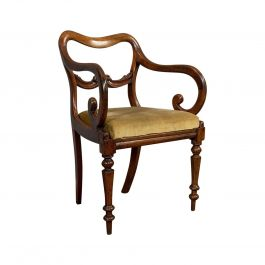 Antique Scroll Armchair, English, Mahogany, Buckle Back, Seat, William IV, 1835