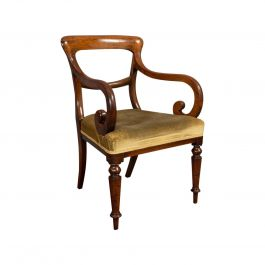 Antique Serpentine Armchair, English, Mahogany, Elbow Seat, Regency, circa 1820