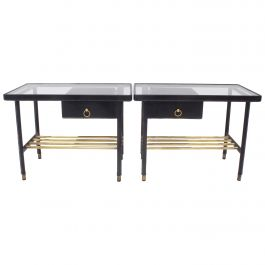 Jacques Adnet Bed Side Table in Piqué Sellier Leather Hermes Nightstands