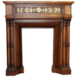 Gothic Revival Carved Walnut Wood and Parcel Gilt Chimney Fireplace Mantlepiece