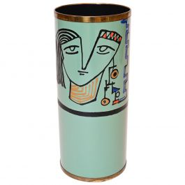 Umbrella Stand with Polychrome Face Motif by Poggibonsi