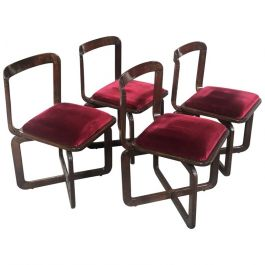 Set of 4 Italian Wood Chairs In The Way Of Willy Rizzo With Original Fabric From 1970s