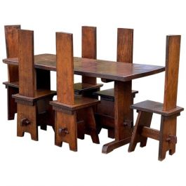 Arts & Crafts Oak Refectory Table and Chairs, circa 1950