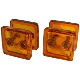 Square Push and Pull Pair of Double Door Handle in Orange Glass