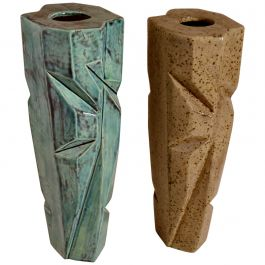 Pair of Studio Pottery Vases in Blue and Beige Glaze