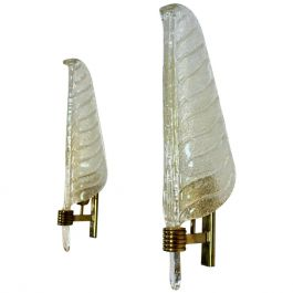 Pair of Xl Murano 24kt Gold Flaked Glass Leaf Sconces, Barovier & Toso