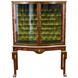 Late 19th Century Chinoiserie Serpentine Fronted Display Cabinet