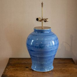 An extremely large denim blue vase, now as a lamp