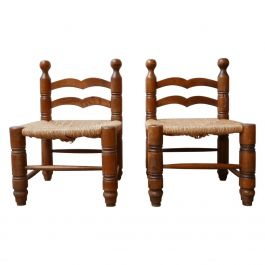 Pair of Midcentury Low Rush Armchairs Attributed to Charles Dudouyt\