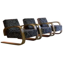 Three Alvar Aalto Zebra Tank Chairs Model 400 by Artek, Finland, circa 1970