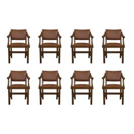 Set of 8, Antique Dining Chairs, Oak, Seat, Arts & Crafts, Hamptons, Edwardian