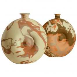 Pair of Large Decorative Studio Pottery Vases in Earth Tones