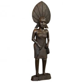 Antique Female Statue, African, Ebony, Hand Carved, Tribal Figure, circa 1900