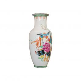 Vintage Flower Vase, Oriental, Ceramic, Baluster Urn, Art Deco, Bird of Paradise