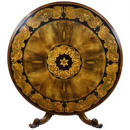 19th Century English Victorian Walnut and Marquetry Circular Breakfast Table