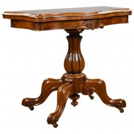 Victorian Burr Walnut Serpentine Card Table