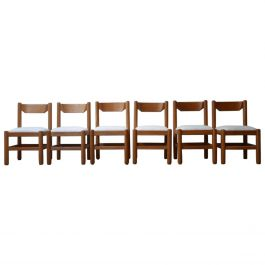 Blonde Oak Midcentury French Dining Chairs in Manner of Guillerme et Chambron