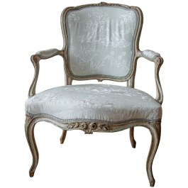 A Louis XV painted open armchair