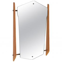 1950s Italian Wall Mirror with Maple Wood and Brass Frame