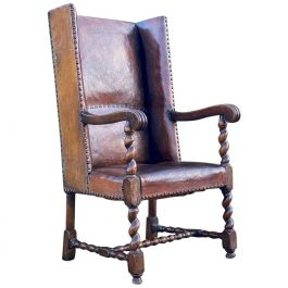 Exceptional George IV Leather and Oak Wingback Armchair, England, circa 1820
