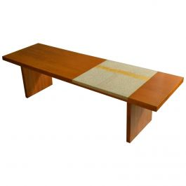 Modernist Walnut Coffee Table with White and Gold Mosaic Inlay