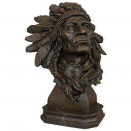 Large Vintage Native American Chief Bust, Bronze, Sculpture, Sioux, after Kauba