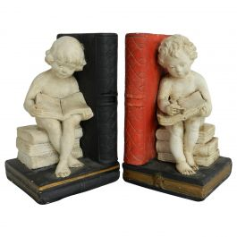 Pair of Bookends Children Girl Boy Reading Book Plaster, circa 1920