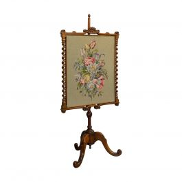 Antique Adjustable Fire Screen, Walnut, Needlepoint, Decorative, Pole, Regency