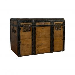 Large Antique Trunk, English, Pine, Carriage Chest, Steamer, Victorian