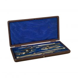 Antique Drawing Instrument Set, English, Draughtsman's, Tools, Edwardian, 1910