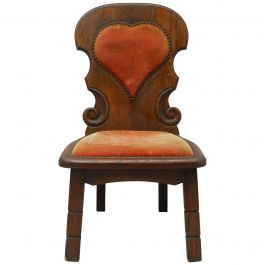 Four Basque Midcentury Chairs Spain Upholstered Hearts Sold Individually