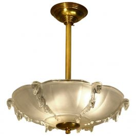 Art Deco French Moulded Glass Pendant Lamp