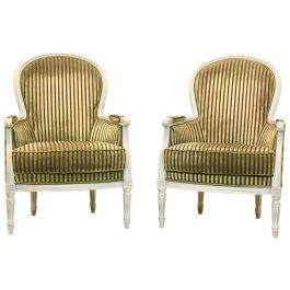 Pair of Louis XVI Style Bergère Chairs by Rosello Paris, France