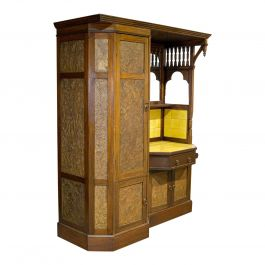 Antique Wardrobe English Walnut, Art Deco, Vanity, Liberty of London, circa 1920