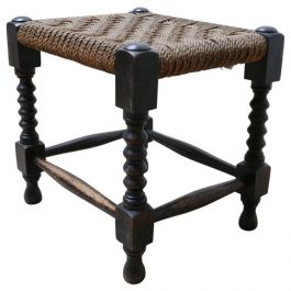 French Midcentury Woven Cord Wooden Stool or Side Table