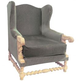 Wingback Armchair Louis XIII Revival to Recover, circa 1920