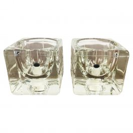 Transparent Ice Glass Cube Table Lamps by Peill & Putzler, 1970s, Set