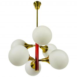 Rare Kaiser Midcentury Red 6-Arm Space Age Chandelier, 1960s, Germany