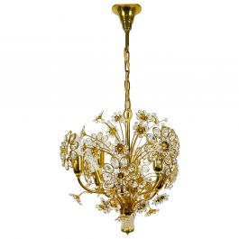 Golden Gilded Brass and Crystal Glass Chandelier by Palwa, Germany, 1960s