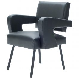 """Rare Jacques Adnet """"President"""" Leatherette Armchair, 1959"""
