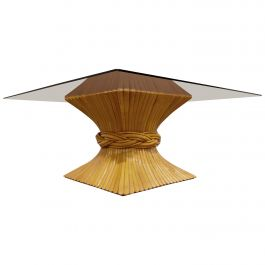 Bamboo Coffee Table by McGuire, 1980s