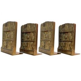 1970s Four Bronze Cast Bookends Depicting Library With Antique Books
