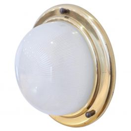 Brass and Glass Midcentury Wall or Ceiling Lights '2'