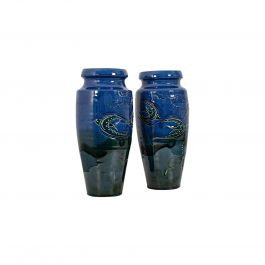 Pair of Vintage Decorative Flower Vases English Ceramic Hand Painted, circa 1930
