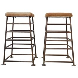 Pair of Tall English Gym Bench Stools