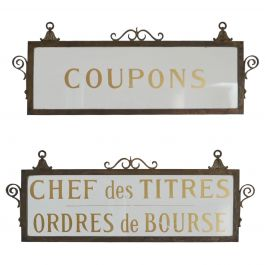 French Antique Bank Stock Exchange Glass Signs (2)
