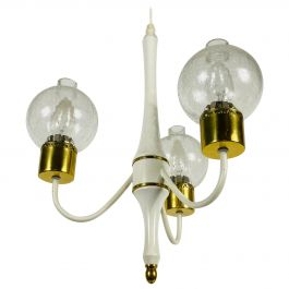 Midcentury Brass and Glass 3-Arm Tulip Chandelier, 1960s