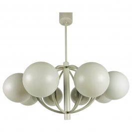 Large Kaiser Midcentury White 8-Arm Space Age Chandelier, 1960s, Germany