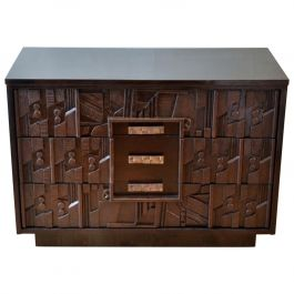 Brutalist Chest of Drawers, Sculptural Relief, style Louise Nevelson Paul Evans
