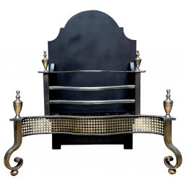 Georgian Style Brass and Steel Fire Grate
